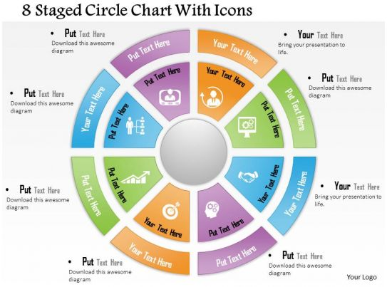 0714 Business Consulting 8 Staged Circle Chart With Icons