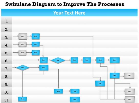 0814 business consulting diagram swimlane diagram to improve the processes powerpoint slide template. Black Bedroom Furniture Sets. Home Design Ideas