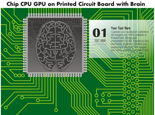 0814 chip cpu gpu on a printed circuit board with a brain