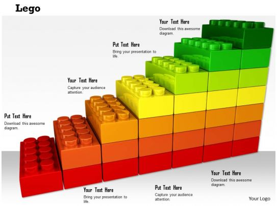0814 colorful multiple staged lego bar graph for business growth image graphics for powerpoint