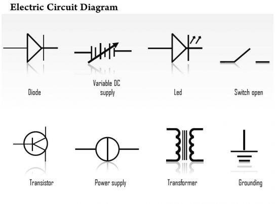 0814 electric circuit diagrams diode led transistor transformer icons grounding variable dc