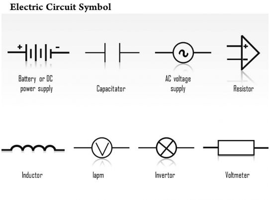0814 electric circuit symbol diagrams capacitor resistor inductor invertor voltmeter ppt slides