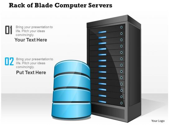 0814 rack of blade computer servers with storage or