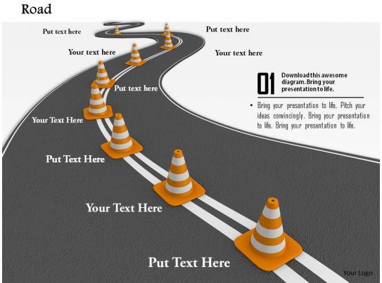 0814 roadmap with multiple traffic cones for business