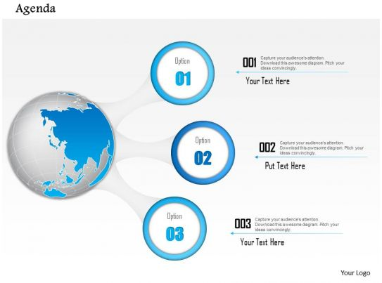 0914 business plan agenda diagram with globe and three