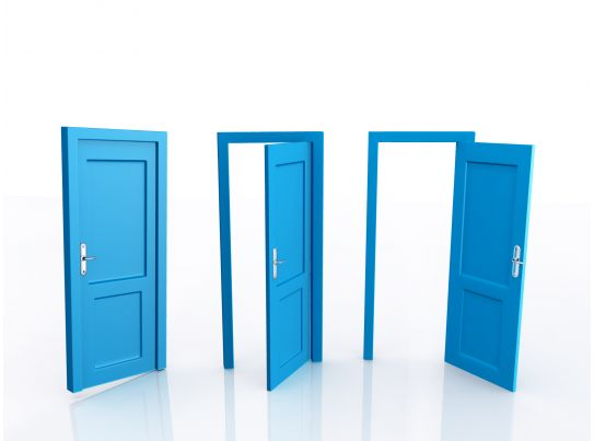 0914 Closed And Open Doors For Opportunities Stock Photo