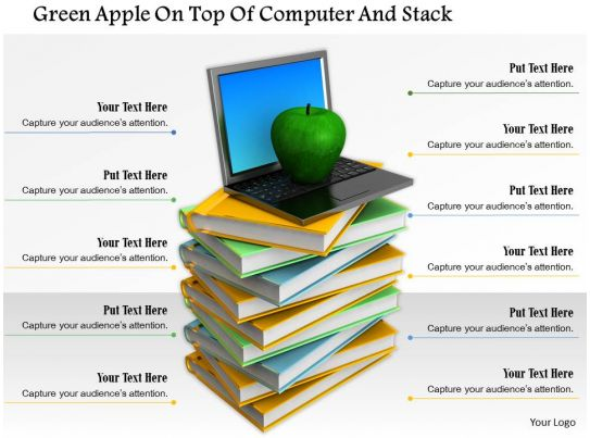 0914 green apple laptop on top of books stack image for Apple product book