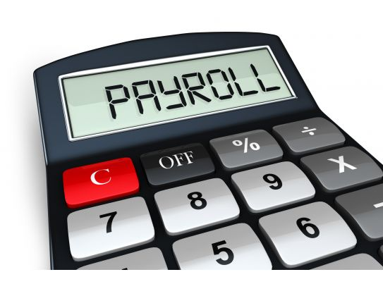 0914 payroll word on a calculator digital display stock photo Slide01