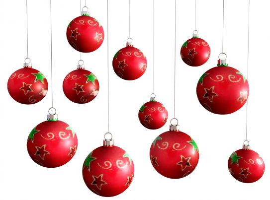 0914 Red Hanging Christmas Balls On White Background Stock