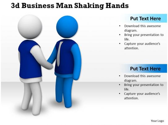 1013 3d business man shaking hands ppt graphics icons