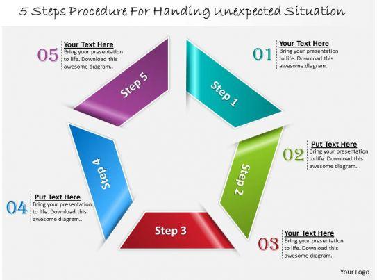 1013 busines ppt diagram 5 steps procedure for handling