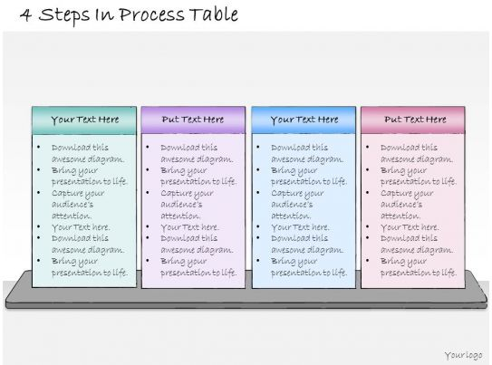 1013 business ppt diagram 4 steps in process table