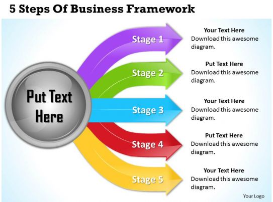 1013 Business Ppt Diagram 5 Steps Of Business Framework