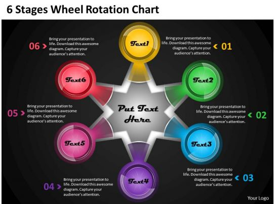 1013 business ppt diagram 6 stages wheel rotation chart powerpoint