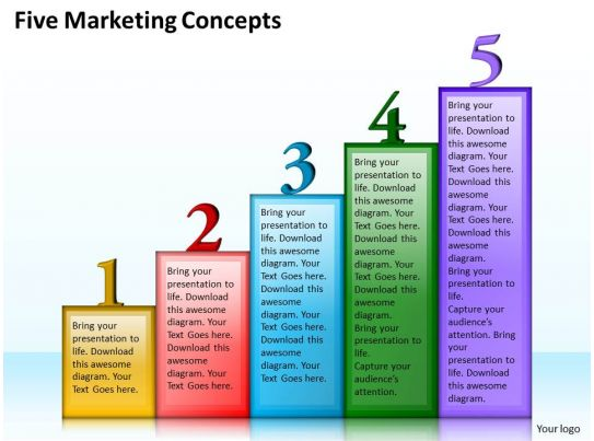 1013 business ppt diagram five marketing concepts