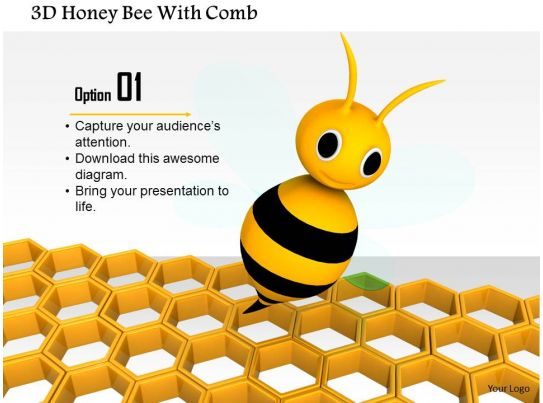 1014 3d Honey Bee With Comb Image Graphics For Powerpoint