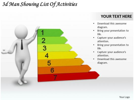 1113 3d man showing list of activities ppt graphics icons powerpoint