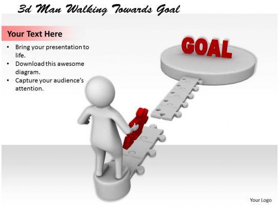 1113 3d Man Walking Towards Goal Ppt Graphics Icons