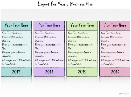 1113 business ppt diagram layout for yearly business plan