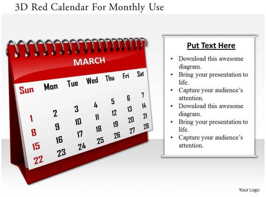 Calendar Art For Powerpoint : D red calendar for monthly use image graphics