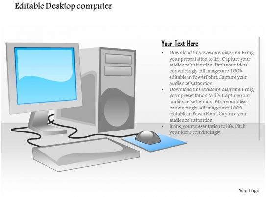 1114 editable desktop computer with flat screen monitor mouse and