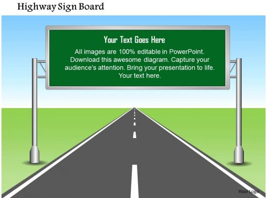 1114 highway sign board with editable text powerpoint