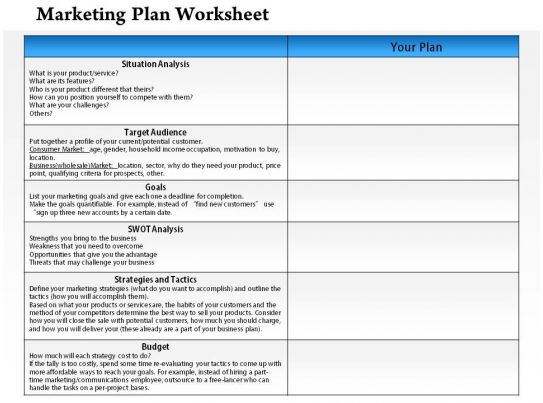 1114 marketing plan worksheet powerpoint presentation