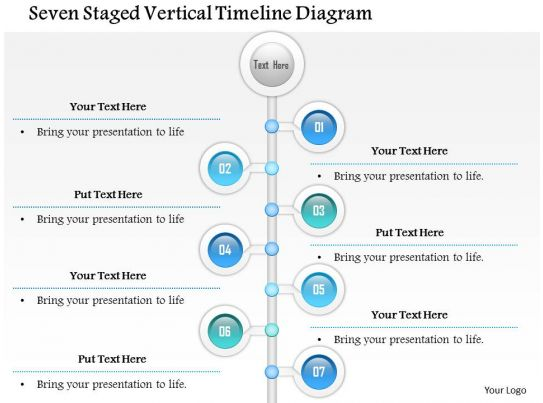 Seven Staged Vertical Timeline Diagram Powerpoint Template