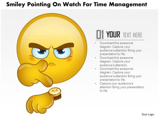 ... Management Slides showing 1114 Smiley Pointing On Watch For Time