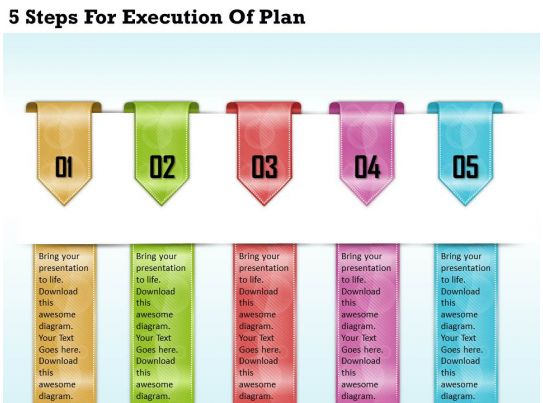 1213 Business Ppt Diagram 5 Steps For Execution Of Plan