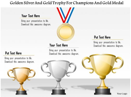 1214 golden silver and bronze trophy for champions and gold medal powerpoint template