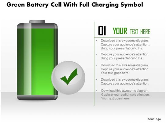 1214 green battery cell with full charging symbol powerpoint slide ...
