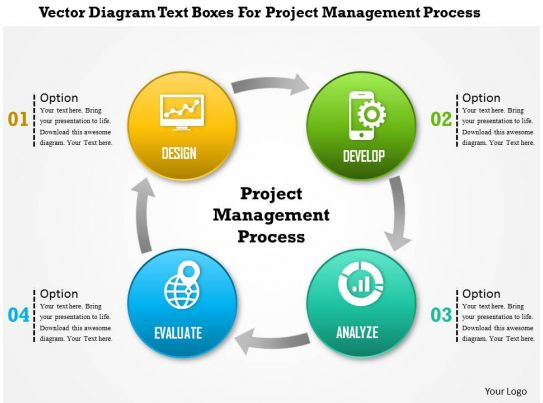 1214 Vector Diagram Text Boxes For Project Management Process Powerpoint Template