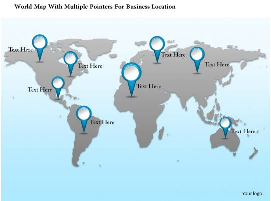 1214 World Map With Multiple Pointers For Business Location