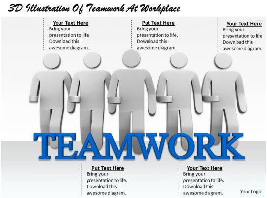 1813 3D Illustration Of Teamwork At Workplace Ppt Graphics Icons ...
