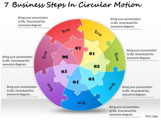 1813 Business Ppt Diagram 7 Business Steps In Circular Motion