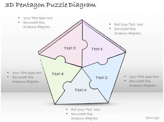 1814 business ppt diagram 3d pentagon puzzle diagram powerpoint