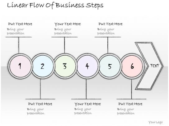 1814 business ppt diagram linear flow of business steps