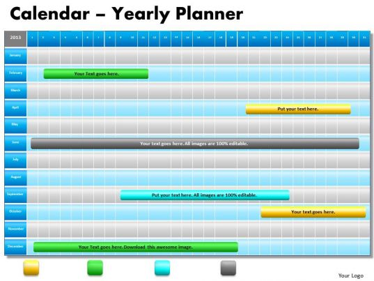 1 Year Planning Gantt Chart Powerpoint Slides Gantt Ppt
