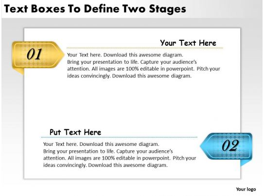 2013 business ppt diagram text boxes to define two stages