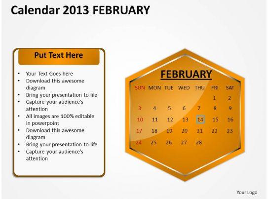 Calendar Art For Powerpoint : February calendar powerpoint slides ppt templates