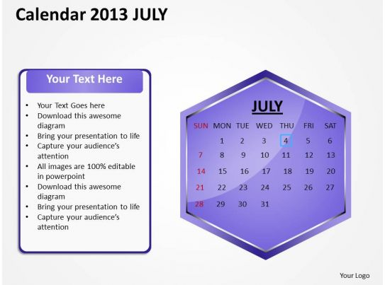 Calendar Design Powerpoint : July calendar powerpoint slides ppt templates