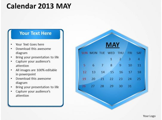 2013 may calendar powerpoint slides ppt templates. Black Bedroom Furniture Sets. Home Design Ideas