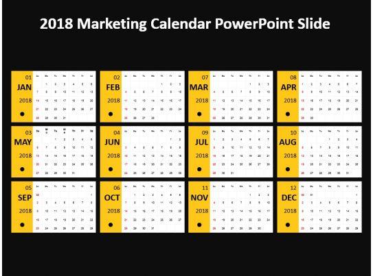 Calendar Art For Powerpoint : Marketing calendar powerpoint slide