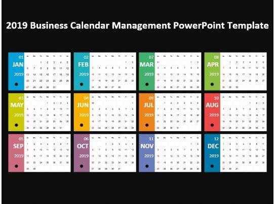 2019 business calendar management powerpoint template