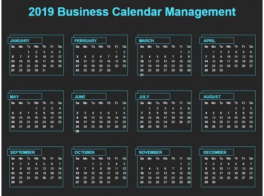 2019 business calendar management ppt template