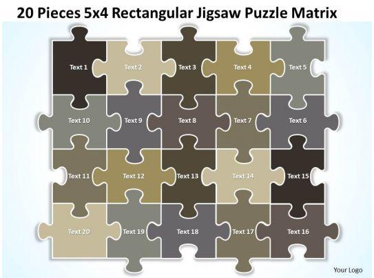 20 pieces 5x4 rectangular jigsaw puzzle matrix powerpoint templates