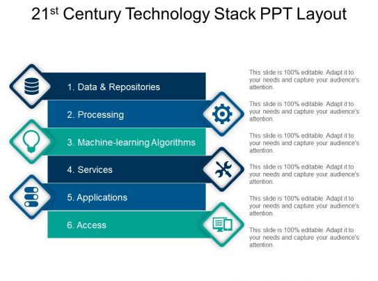 21st century technology stack ppt layout