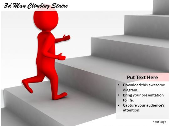 2513 3d man climbing stairs ppt graphics icons powerpoint