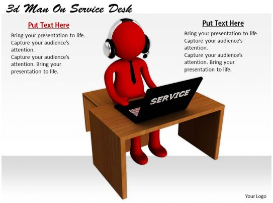 2513 3d man on service desk ppt graphics icons powerpoint